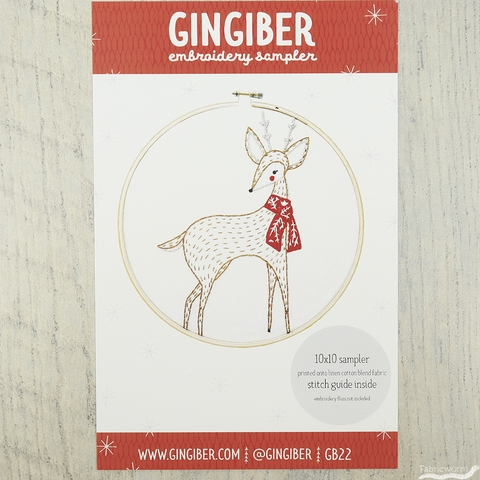 "Gingiber, Merriment 10"" Embroidery Sampler, Deer"
