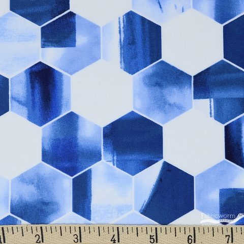 Grace Popp for Studio E, Nature Walk Indigo, Hexagon