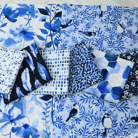 Grace Popp for Studio E, Nature Walk Indigo in FAT QUARTERS 8 Total