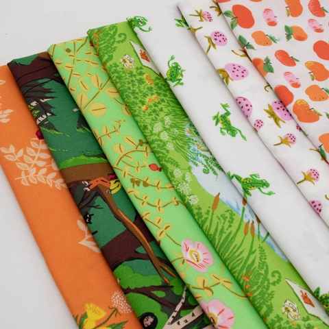 Heather Ross, 20th Anniversary Fabric Collection, Bouquet Orange