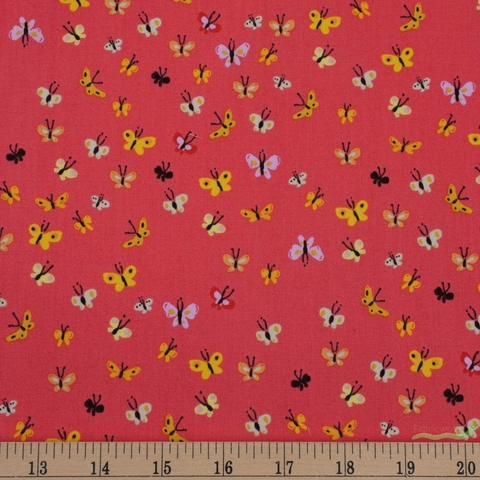 Heather Ross, 20th Anniversary Fabric Collection, Butterflies Coral