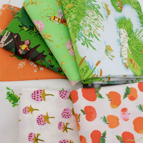 Heather Ross, 20th Anniversary Fabric Collection, Frog Pond Blue