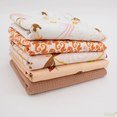 Heather Ross, 20th Anniversary Fabric Collection, Mellow Mendocino Bundle 5 Total