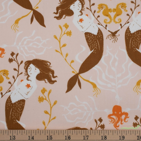 Heather Ross, 20th Anniversary Fabric Collection, Mermaids Peach