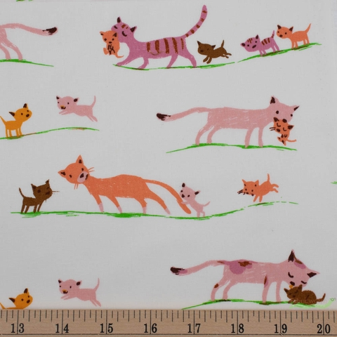 Heather Ross, 20th Anniversary Fabric Collection, Morning Cats Cream