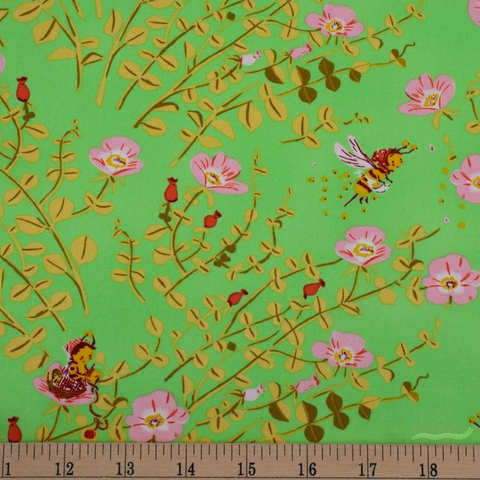 Heather Ross, 20th Anniversary Fabric Collection, Nanny Bee Green