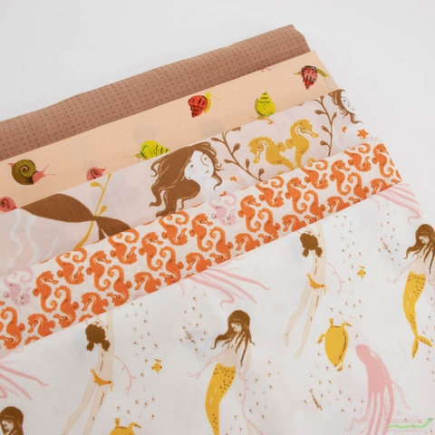 Heather Ross, 20th Anniversary Fabric Collection, Sea Horses Cream Orange