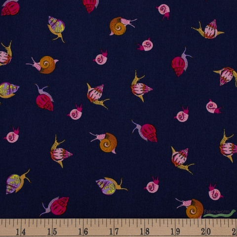 Heather Ross, 20th Anniversary Fabric Collection, Snails Indigo