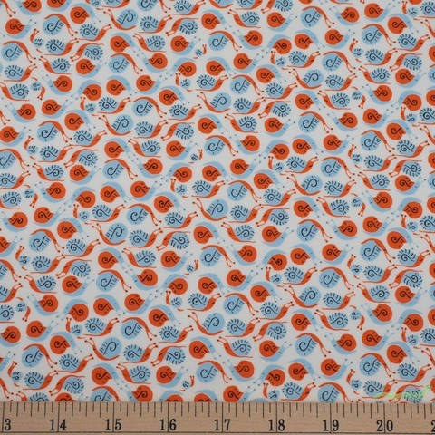 Heather Ross, 20th Anniversary Fabric Collection, Snails Orange