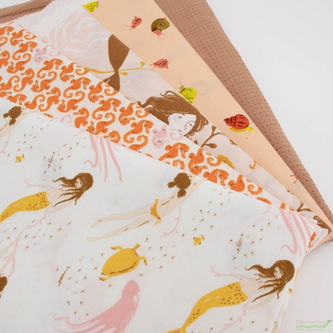 Heather Ross, 20th Anniversary Fabric Collection, Underwater Sisters Blush Pink