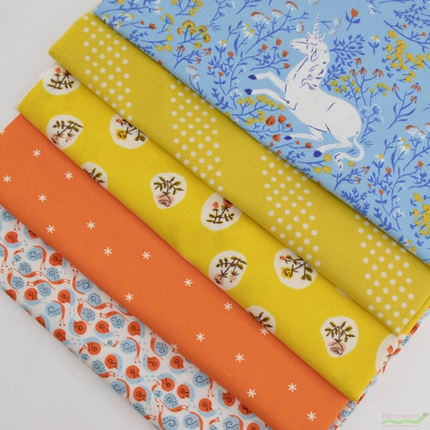 Heather Ross, 20th Anniversary Fabric Collection, Unicorn Thistle Bundle 5 Total