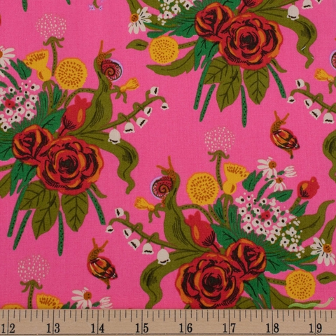 Heather Ross, 20th Anniversary Fabric Collection, Wildflowers Pink