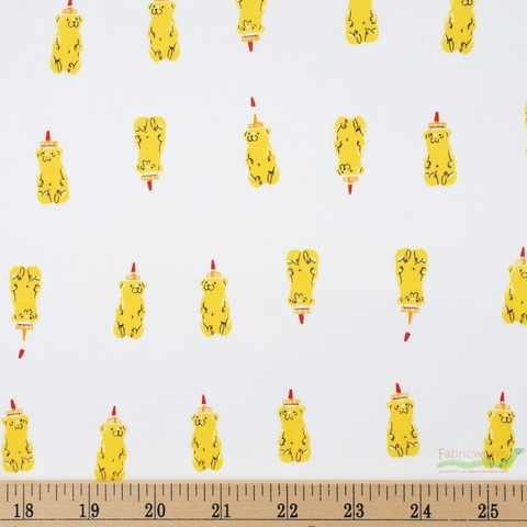 Heather Ross for Windham, Far Far Away 2, Honey Bears Yellow Fat Quarter