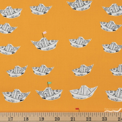 Heather Ross for Windham, Far Far Away 2, Newspaper Boats Orange Fat Quarter