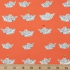 Heather Ross for Windham, Far Far Away 2, Newspaper Boats Red Orange Fat Quarter