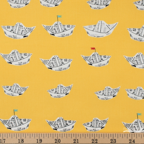 Heather Ross for Windham, Far Far Away 2, Newspaper Boats Yellow