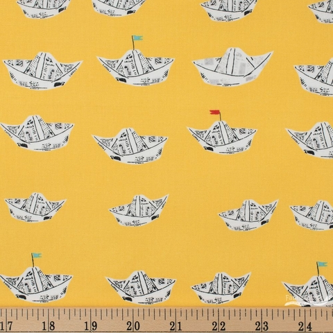 Heather Ross for Windham, Far Far Away 2, Newspaper Boats Yellow Fat Quarter