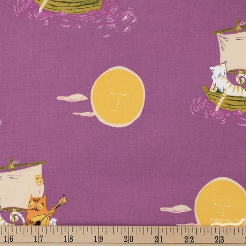 Heather Ross for Windham, Far Far Away 2, Owl and the Pussycat Plum Fat Quarter