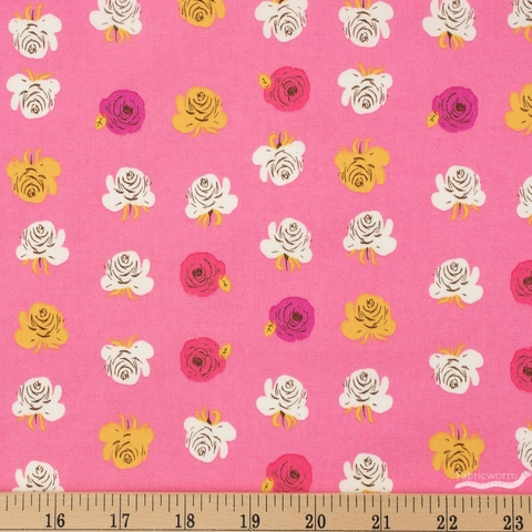 Heather Ross for Windham, Far Far Away 2, Roses Hot Pink Fat Quarter
