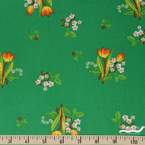 Heather Ross for Windham, Kinder, Spring Blooms Green