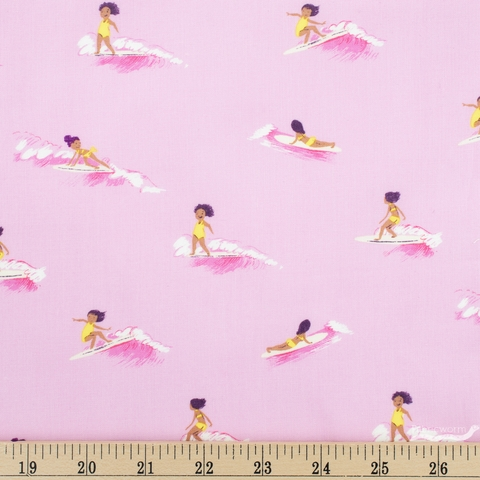 Heather Ross for Windham, Malibu, Tiny Surfers Pink