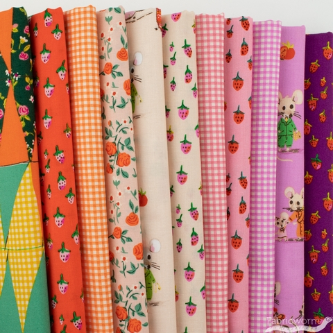 Heather Ross for Windham, Trixie, Berry in FAT QUARTERS 11 Total (PRECUT)
