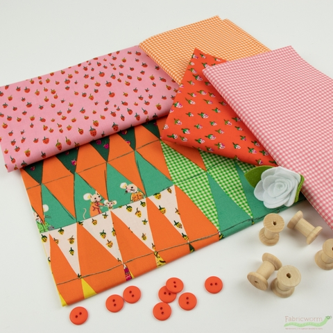Heather Ross for Windham, Trixie, Gingham Tangerine