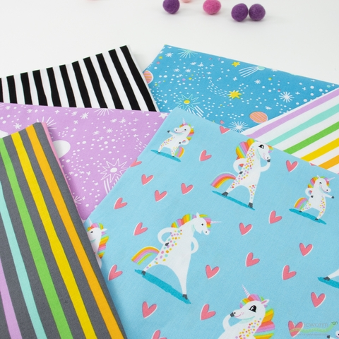Hello!Lucky for Robert Kaufman, Magical Rainbow Unicorns in FAT QUARTERS 6 Total