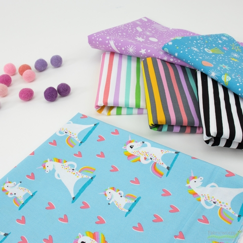 Hello!Lucky for Robert Kaufman, Magical Rainbow Unicorns, Striped Charcoal