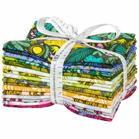 Hello! Lucky for Robert Kaufman, Wild and Free, Pre-Cut Fat Quarter Bundle 16 Total