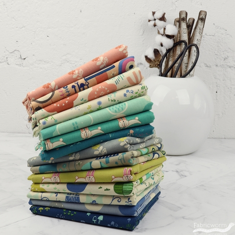 Hitomi Osumi for Cotton and Steel, Mori No Tomodachi, Cloudy in FAT QUARTERS 7 Total