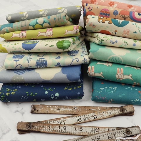 Hitomi Osumi for Cotton and Steel, Mori No Tomodachi, Cloudy in FAT QUARTERS 7 Total (PRECUT)