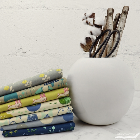Hitomi Osumi for Cotton and Steel, Mori No Tomodachi, Cloudy in HALF YARDS 7 Total