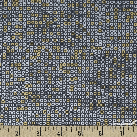 Hoffman Fabrics, Sparkle and Fade Metallic, Circle Rows Charcoal