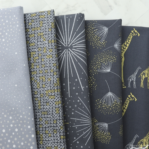 Hoffman Fabrics, Sparkle and Fade Metallic FAT QUARTERS 5 Total (PRECUT)