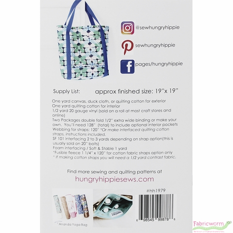 HungryHippie Sews, Sewing Pattern, Essentials Tote