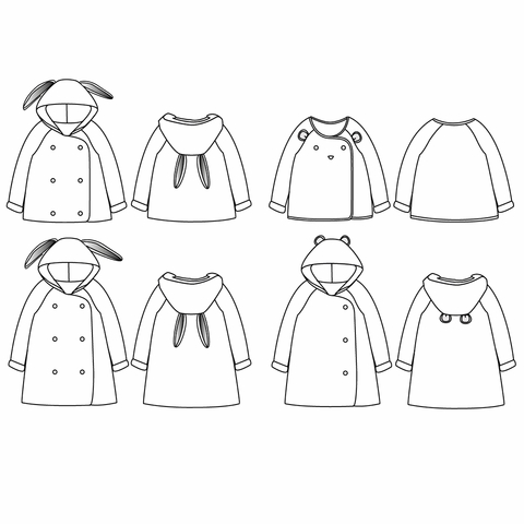 Ikatee, Sewing Patterns, Grand'ourse Kids Cardigan (6 mo - 4 years)