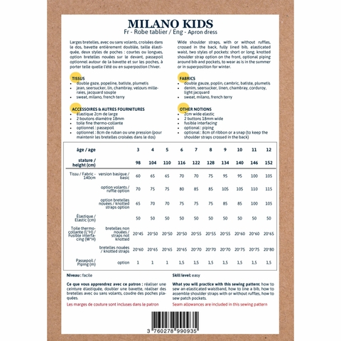Ikatee, Sewing Patterns, Milano Kids Dress (3-12 years)