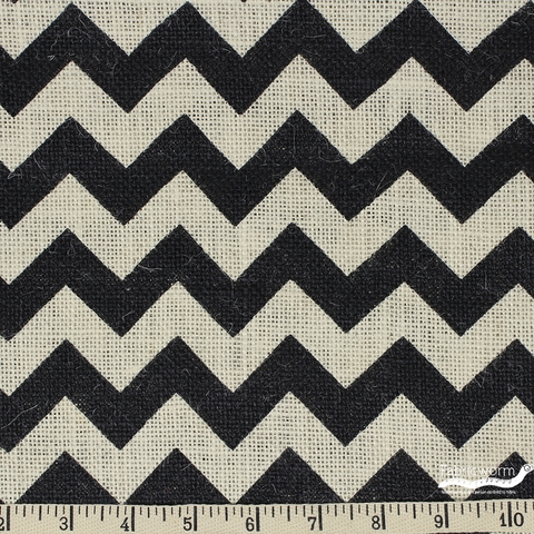 Imported Printed BURLAP, WIDE WIDTH, Chevron Black Natural