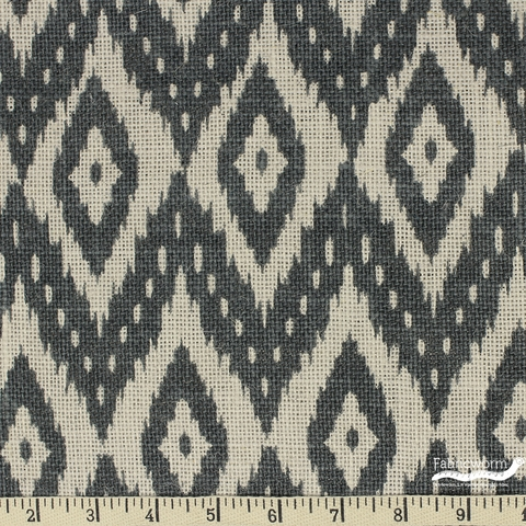 Imported Printed BURLAP, WIDE WIDTH, Printed Flame Stitch Ikat Grey Nat