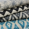 Imported Printed BURLAP, WIDE WIDTH, Printed Flame Stitch Ikat Teal Nat