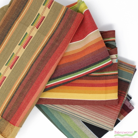 Imported Woven Yarn-Dyes, Flaring Sun, Stripe Brown Multi