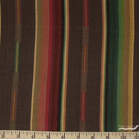 Imported Woven Yarn-Dyes, Flaring Sun, Stripe Mocha Multi