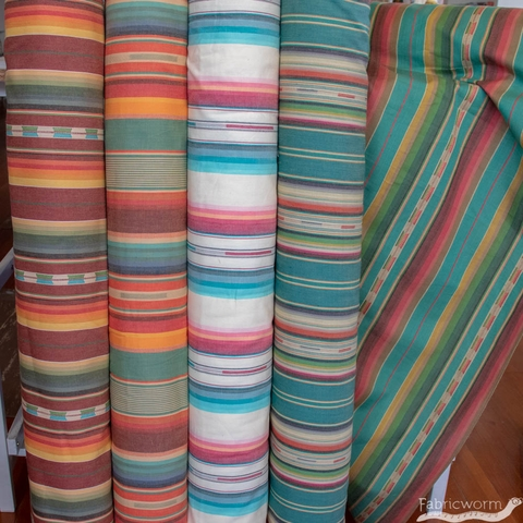 Imported Woven Yarn-Dyes, Flaring Sun, Stripe Teal