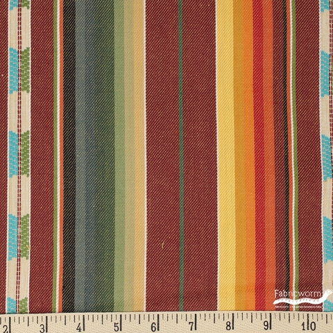Imported Woven Yarn-Dyes, Flaring Sun, Stripe Wine
