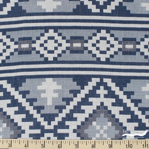 Imported Woven Yarn-Dyes, Global Textures WIDE WIDTH, Blue