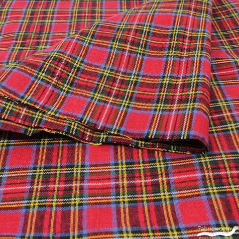 Imported Woven Yarn-Dyes, Lightweight BRUSHED COTTON, Plaid Red Green