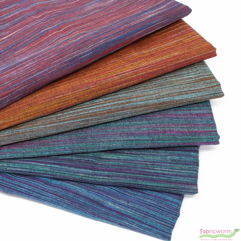 Imported Woven Yarn-Dyes, Ombre Ridge, Vertical Stripe Green Purple
