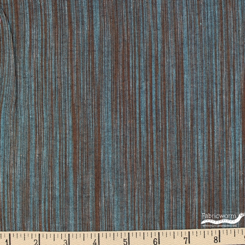 Imported Woven Yarn-Dyes, Ombre Ridge, Vertical Stripe Turquoise Brown