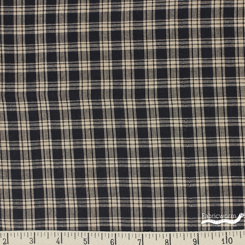 Imported Woven Yarn-Dyes, Rustic Woven, Plaid Natural Black